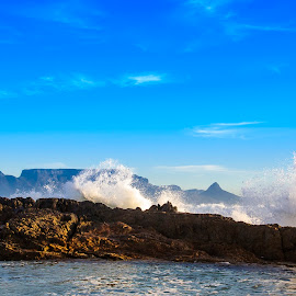 Table Spray by Jon Feldman - Landscapes Beaches ( table mountain, spray, 2013, bloubergstrand, south africa )