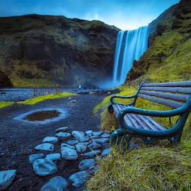Skógarfoss by Rafael Uy - Landscapes Travel ( iceland, waterfall, long exposure, skógarfoss, public, bench, furniture, object )