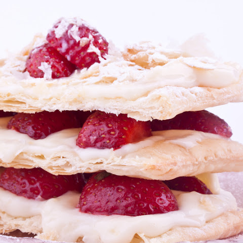 Italian Sfogliatelle Pastries with Strawberries