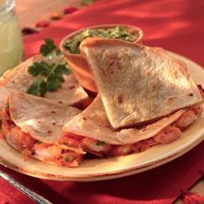 Shrimp and Green Chili Quesadillas with Guacamole