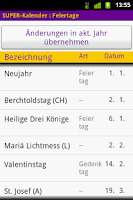 Screenshot of SUPER-Kalender
