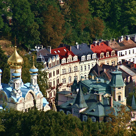 Orthodox Church Of Saint Petter and Paul by Brenda Hooper - Buildings & Architecture Places of Worship ( karlovy vary, building, mountain, orthodox church., church, czech republic,  )