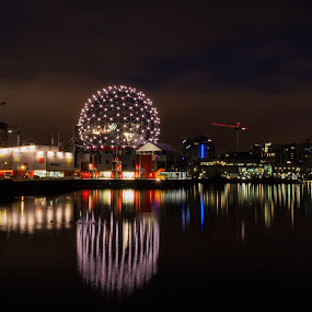 Telus Science World At Night by Daniel Gorman - Buildings & Architecture Office Buildings & Hotels ( pacific coast, canada, false creek, burrad inlet, pacific, vancouver, telus, telus science world, canadian, telus world of science, science world, world of science, british columbia, , city, night )