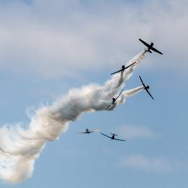 Separate Ways by Sara Ascalon - Transportation Airplanes ( flying, flight, plane, airplane, aeroplane, aircraft, stunt planes, air show )