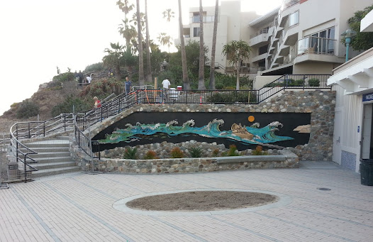 The public space entrance to the new 6-million dollar Lifeguard Headquarters was also designed with native landscaping, seating, and a decorative pavement medallion.  The adjacent stairway leads to Laguna Beach's Heisler Park Sculpture Garden.