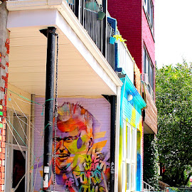 Mayor Ford by Ronnie Caplan - City,  Street & Park  Neighborhoods ( building, streetscene, colourful, facade, graffiti, greenery, bricks )