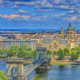 From Buda we see Pest by Bruno Perez - City,  Street & Park  Vistas ( hungary, budapest, city view, chain bridge, city,  )