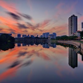 Morning Reflection by Ken Goh - City,  Street & Park  Skylines