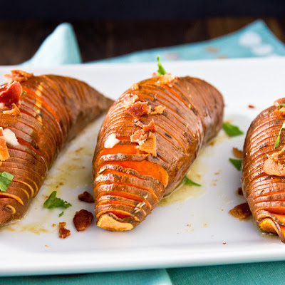 Hasselback Sweet Potatoes with Maple-Cinnamon Butter