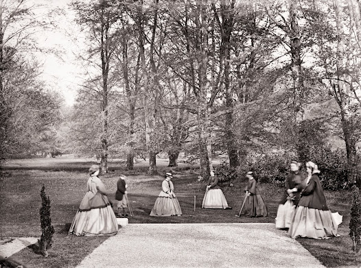 Playing croquet on the lawn, Clonbrock, Ahascragh, Co. Galway, ca. 1865. (CLON 435).