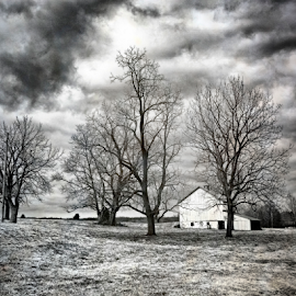 Winter Storm Clouds by John Franco - Landscapes Weather ( field, clouds, farm, ominous, barren, white, maryland, winter tress, storm, black,  )