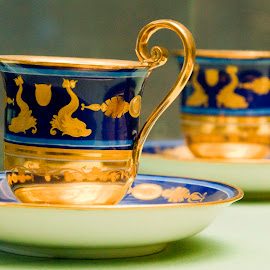 Porcelain by J & M - Artistic Objects Cups, Plates & Utensils ( decorative, cups, decoration, colorful, illustration, beautiful, plate, image, table, object, ornamental, porcelain, blue, artistical, view, gold )