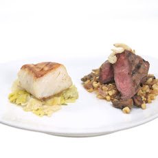 Surf and Turf in Herbed Red Wine Sauce with Buttery Mushrooms and Creamy Leeks