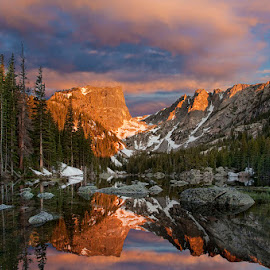 Dream Lake by James McGinley - Landscapes Mountains & Hills ( national park, reflection, lake, sunrise )