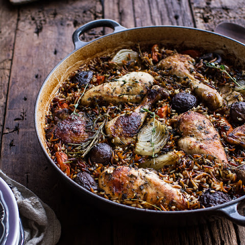 One-Pot Autumn Herb Roasted Chicken with Butter Toasted Wild Rice.
