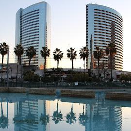 Mirror High by Arifah Mardiningrum - City,  Street & Park  City Parks ( reflection, building, symmetry, city park, pond )