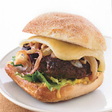 Bison Burgers with Cabernet Onions and Wisconsin Cheddar