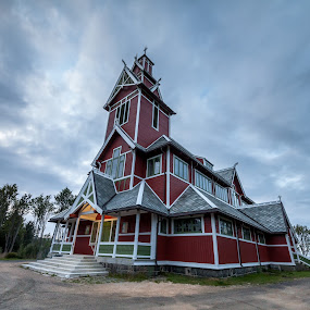 Wooden Church by Benny Høynes - Buildings & Architecture Public & Historical ( clouds, wooden, church, churches, lofoten, norway )