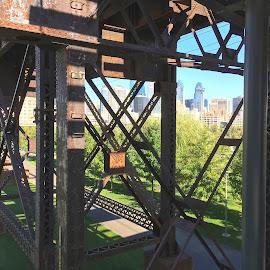 by Alice Gipson - City,  Street & Park  Vistas ( train trestles, trestles, alicegipsonphotographs, cityscape, philadelphia, city )