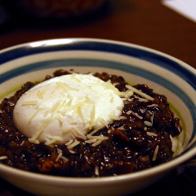 Poached Egg over Bacon Black Risotto (Adapted from Jill Duple & Alton Brown)