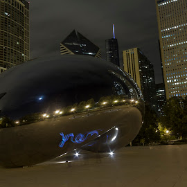 Writing with light. by Cory Byers - Buildings & Architecture Statues & Monuments ( vision, graffiti, experiment, chicago, glow stick )