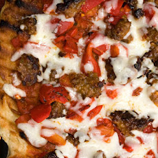 Roasted Pepper and Spicy Sausage Grilled Pizza Recipe