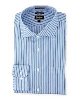 Neiman Marcus No-Iron Trim-Fit Striped Dress Shirt, Blue - (17.5 32/33)