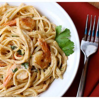 Shrimp and Pasta in Tomato-Chile Cream Sauce