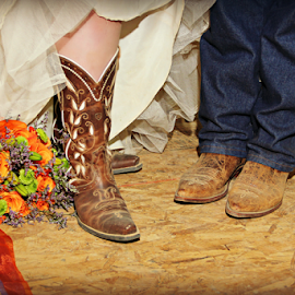 Western Wedding by Freda Nichols - Wedding Bride & Groom ( cowboy, wedding, bride, flowers, groom, boots, artistic, object )