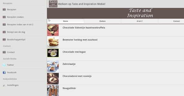 Taste and Inspiration recepten - screenshot