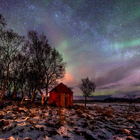 Aurora boat house and milkyway by Benny Høynes - Landscapes Starscapes ( milkyway, winter, northernlights, stars, aurora, boathouse, norway )