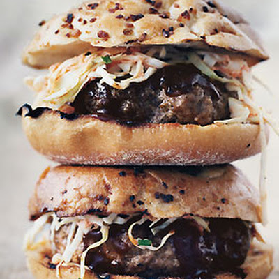 Barbecued Pork Burgers with Slaw