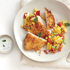 Panko-Crusted Chicken with Roasted Corn Hash and Buttermilk Dressing