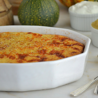 Organic Cheddar Cheese and Corn Souffle