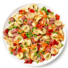 Pasta Salad With Salami, Carrots, Peas and Roasted Red Peppers