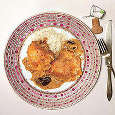 Braised Chicken with Prunes and Cream