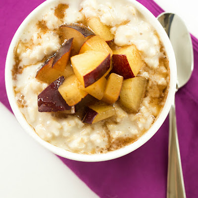 Overnight Chilled Plum-Oatmeal Pudding
