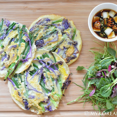 Pajeon 파전 (Green Onion Pancake w Red Cabbage)