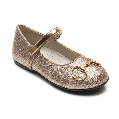 Gucci Gold Glitter Bar Shoe JUNIOR BALLERINA