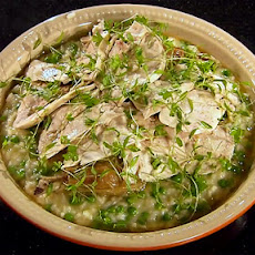 Pea Risotto with Roast Chicken