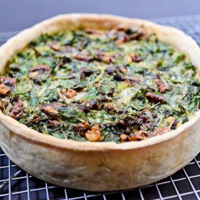 Greens and Walnut Quiche