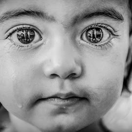 one little tear... by Nathalie Gemy - Babies & Children Child Portraits ( look, black eyed, black and white, tear, expressif, kid )