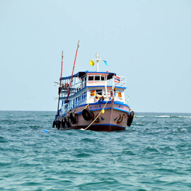 enjoyment in a ship  by Sethi Kc - Transportation Boats ( enjoyment in a ship,  )