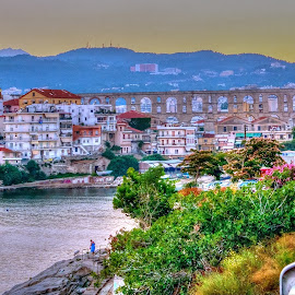 Kavala by Stratos Lales - City,  Street & Park  Vistas ( aquaduct, arc, sea, road, roman )