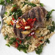 Cinnamon Lamb Steaks With Rice & Kale