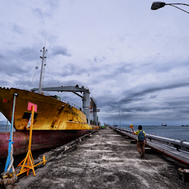 Vessel by Ferdinand Ludo - Transportation Boats ( docked, freight forwarding vessel, container van, pier end )
