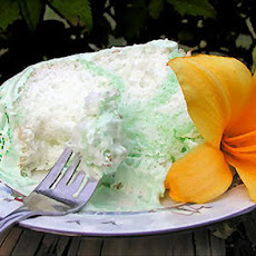 Green Angel Cake With Fluffy Fruit Flavor Frosting