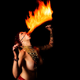Dolly Eats Fire by Joey Tennant - People Musicians & Entertainers ( studio, hot, performer, women, fire,  )