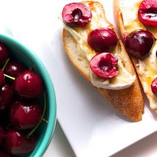 Bing Cherries, Kunik Cheese & Honey Crostini