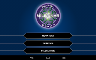 Screenshot of Milijonar Slovenija